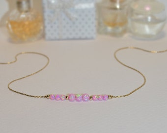 OPAL NECKLACE // Tiny Opal Necklace Gold - Pink Opal Ball Necklace - Dot Necklace - Single Bead Necklace - Opal Bead Necklace