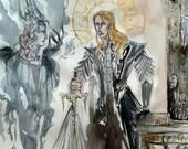Spirit of Morgoth - Original Tolkien Fantasy Inspired Watercolor Painting Lord of the Rings Silmarillion Sauron Melkor Bauglir Phobs Orc Fae