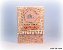 Baby Card, Girl, Baby Girl, New Baby, Elephant, Baby Shower, Baby Gift, Expectant Mother, Cottage Chic, Shabby Vintage Style, Cute Baby Card