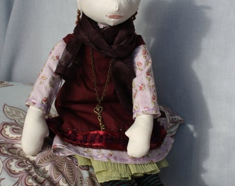 Rag doll large brown 19 inches rag doll with burgundy and mauve dress and scarf - art doll collection doll