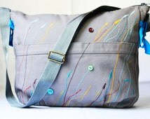 Fabric overnight bag, large weekender bag, turquoise, fabric travel bag, large travel bag, summer travel bag, travel bag, women's summer bag