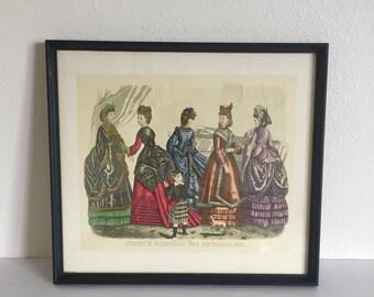 Godey's Fashion Print; Framed Godey Print; Godey's Fashions; Antique Godey's Print; Paris Fashion Print; Fashion Prints; Godey's Print