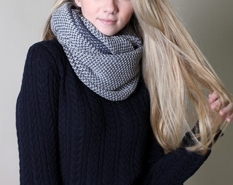 ORGANIC Cotton Knit Scarf (Grey / Blue), infinity scarf, two-color, super soft, eternity scarf, gift ideas