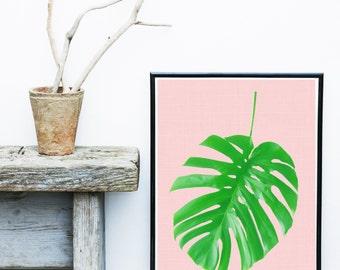 Tropical Leaf Print, Monstera Art Print, Green Leaf, Home Decor, Wall Decor, Wall Art, Art Print, Giclee print,  Poster