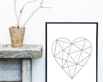 Geometric Heart, Art Print, Minimalist Art, Black And White Art, Abstract Art Print, Scandinavian Art,  Giclee print, Wall Art, Poster