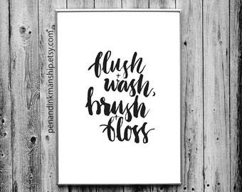 potty training pdf bathroom black and white art print downloadable pdf brush lettering wall art download print display