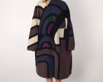 1980s Vintage Graphic Color Block Sweater Coat