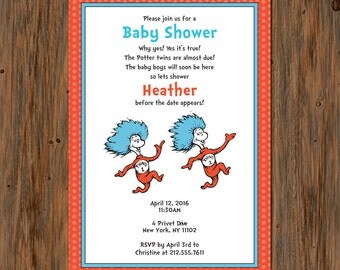 Thing 1 & Thing 2 Twins Baby Shower Invitation