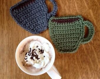 Coffee Coasters, Set of 4, Crochet coffee coasters, Coffee, Coffee lovers, Coasters, Coffee and Crochet, Office Decor, Gift, Custom Made