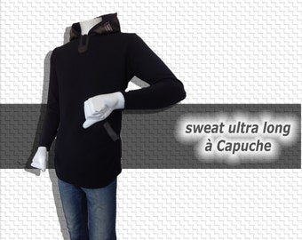 Sweat ultra long à capuche