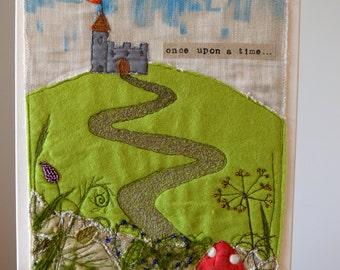 handmade, fairy-tale castle canvas // textile art // children's room decor// freehand machine embroidery// wall art// box canvas//