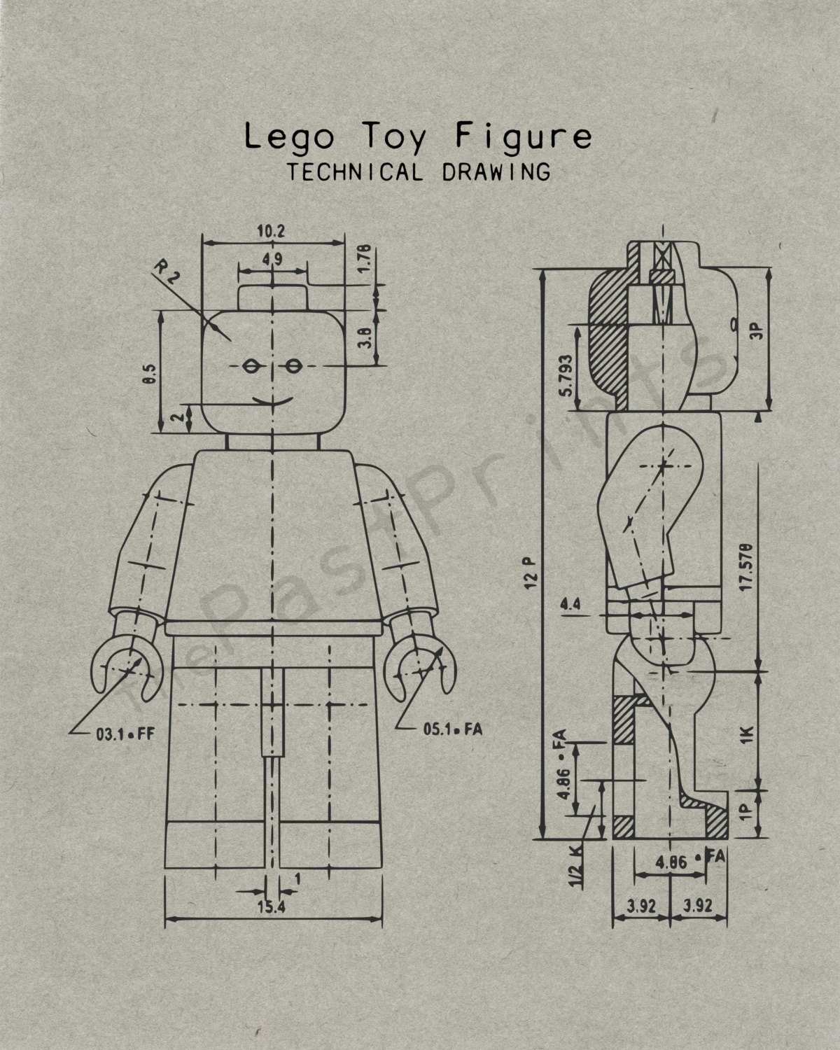 Lego printable lego figure techincal drawing lego art for Blueprint paper size