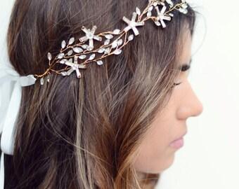 The Newport - Gold Vine Rhinestone Crystal Leaves and Flowers Encrusted Bridal Headband Wreath White Silk Satin Ribbon Crown Wedding Bride
