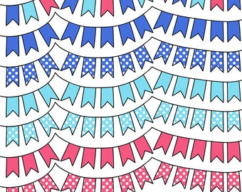 SEA SHELL PALETTE  Polka Dot Digital Bunting - Clipart - Commercial Use - Clip Art Graphics - Blue - Coral - Scrapbooking Flags - Polka Dot