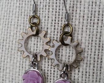 Dainty Steampunk Flower Earrings