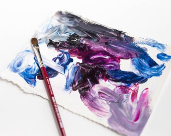 Original Small Abstract Painting on Paper with Blue, Purple, and Gray