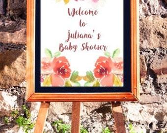 Baby shower sign - floral border
