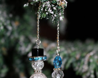 Snowman Glass Beaded Icicle Ornaments