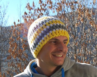 Hat wool double - adult men - yellow and grey
