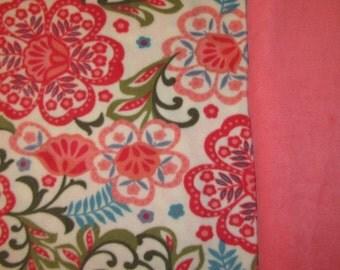 Fleece Tie Blanket-Fun Flowers and Coral, large
