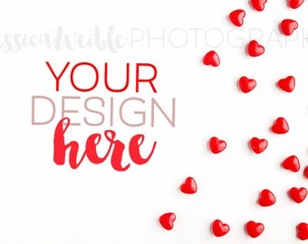 Spilled Red Heart Candy 2 Styled Desktop, Styled Stock Photography, Styled Mockup, Product Background Photo, Valentine Candy styled photo
