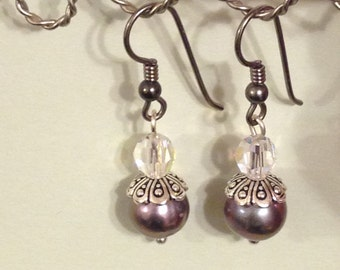 Purple Fresh water pearl earrings with Niobium earwires