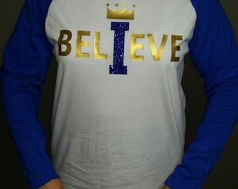 "Kansas City Royals ""I Believe"" Glitter Raglan Baseball Tee, Royals Mother's Day Gift, Royals Birthday Gift, KC Royals, KC Royals Sparkle"