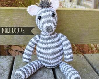 Stuffed Zebra, Baby Gift, Kids Gift, Knit Stuffed Animal, Soft Toy, Handmade Doll, Plush Doll, Custom Toy, Striped Toy, Kids Toy, Gift Idea