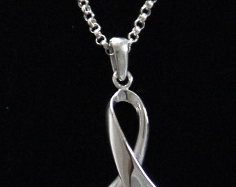 "Cancer Awareness Ribbon Pendant  with 18"" Rolo Chain"
