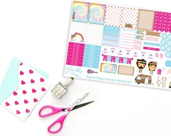 Teenies-Personal Size Hippie Dippie Kawaii  Weekly Planner Sticker Kit for Kikki K, Color Crush, or Most Personal Planners.