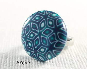 """Handmade Polymer Clay Ring Top """"Mokume in Green -  Blue"""" (Large), with Stainless Steel Interchangeable Ring One Of A Kind Polymer Clay Ring"""