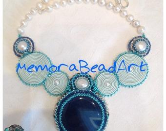 Collana Oceano - Agata ed embroidery