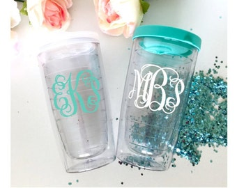 Monogram Tumbler, Personalized Gift Tumbler, Bridesmaid Bridal Party Favor, Wedding Gift, Teacher Acrylic Tumbler Cup, Custom Travel Cup