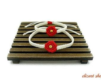 Set of two white-red macrame bracelet, mother and daughter bracelet set, matching bracelets, mommy and me bracelet set, mother and child.