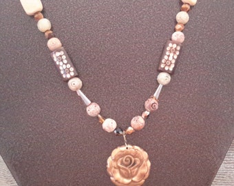 Necklace with a Beautiful Copper Rose