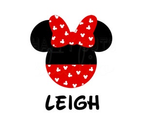 Personalized Polka Dot Pants and Bow Minnie Mouse / Mickey Pattern Disney Matching Mother Daughter Cheer Iron On Decal Vinyl for Shirt 209