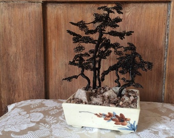 Five Tree Miniature Wire Bonsai Sculpture with Genuine Cotswold Stone