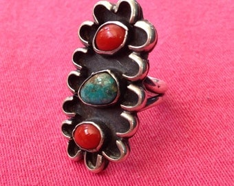 Turquoise Red Coral Ring, Turquoise and Red Coral Ring, She ze 7.5, Ships Free