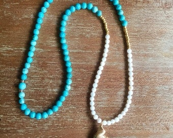 Turquoise and White Long Necklace with Turquoise Stone Pendant