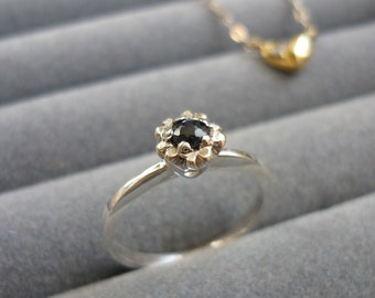 ring blue sapphire, small flower, 925 silver stealing,gift for her,present for birthday