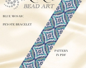 Pattern, peyote bracelet - Blue mosaic peyote bracelet cuff pattern in PDF