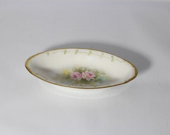 E. McElroy Porcelain Trinket Dish with Pink Flowers
