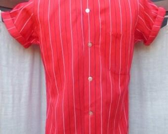 Small VINTAGE 1960's RED W/WHITE stripe cotton shirt