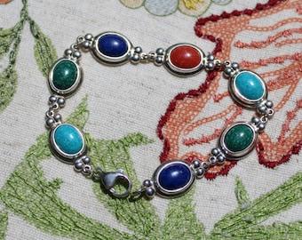 Multi-Stone Boho Bracelet+Vintage+7 inch Length+Silver Clasp