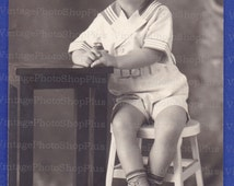 Adorable boy Posing, DIGITAL Photo, Vintage Photo, High Resolution, Photography, Black and White, Digital Download, 1200 dpi, Collage