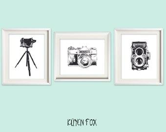 Vintage camera wall art - camera nursery art - Nursery Decor - reflex camera wall print - camera wall decor - big format camera art