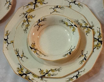 "1918 Antique Myott ""Blossom"" Place Setting for Two"