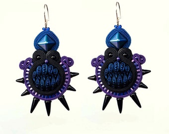 Dark Galaxy Soutache Earrings Gothic Fantasy Style