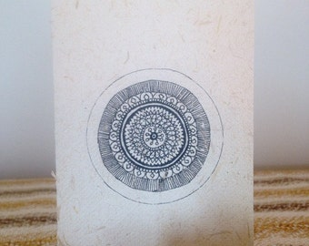 Hand Drawn Mandala Card on All Natural Elephant Dung Paper