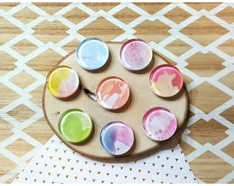 Multicolor Watercolor Glass Cabochon Magnets / 1 inch Magnets / Fridge Magnets / Boho Magnets / Blue, Purple, Pink, Yellow, Green - Set of 8